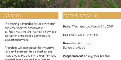 Regional Land Access Innovations Training in Mills River, March 8th, 2017